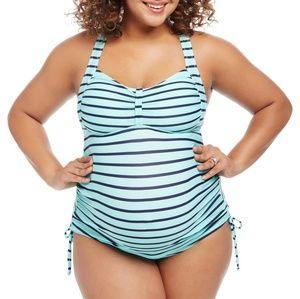 Beach Bump Motherhood Maternity Tankini Halter 3X New NWT Stripes